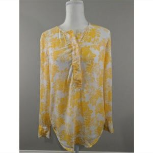 J Crew Factory Popover Top Yellow White Floral